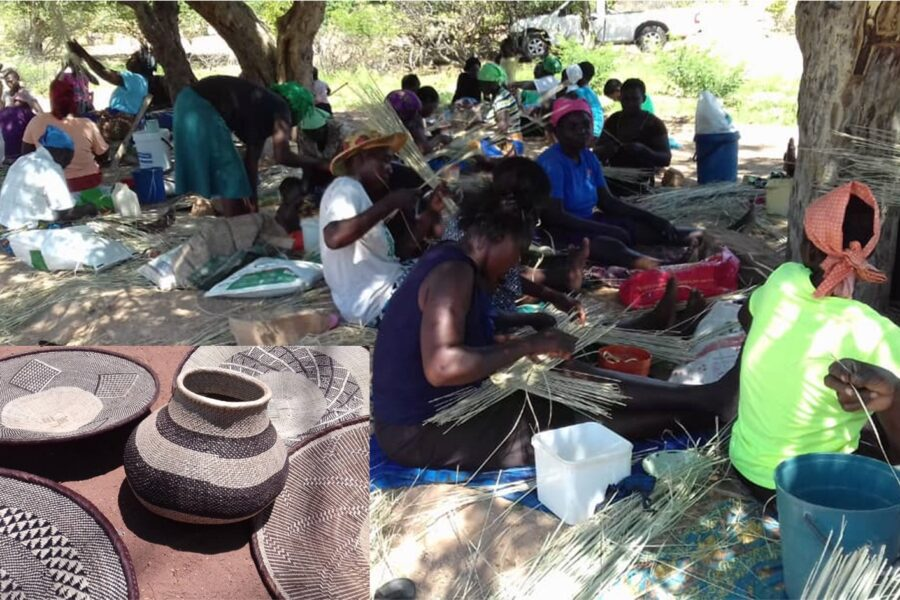 Basket weavers in Siachilaba busy at work. Insert - sample of finished products weaved by the women